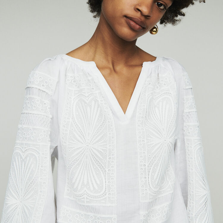 Blouse with guipure  : Tops & Shirts color White
