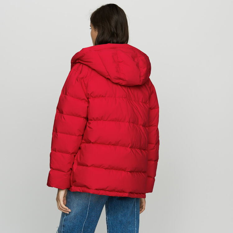 Hooded puffer jacket with zip : Coats color Red
