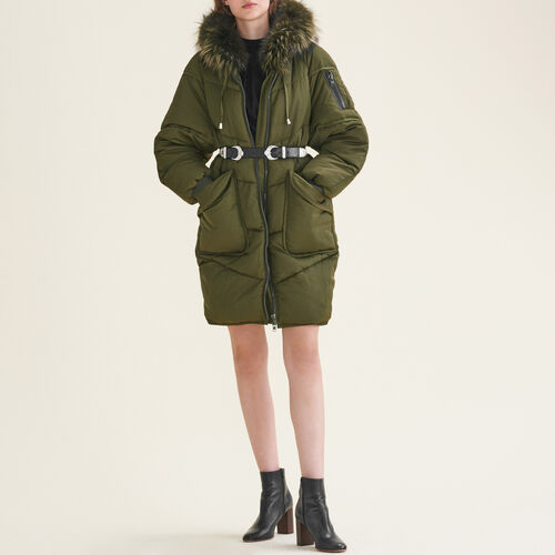 Long down jacket with fur - Coats - MAJE