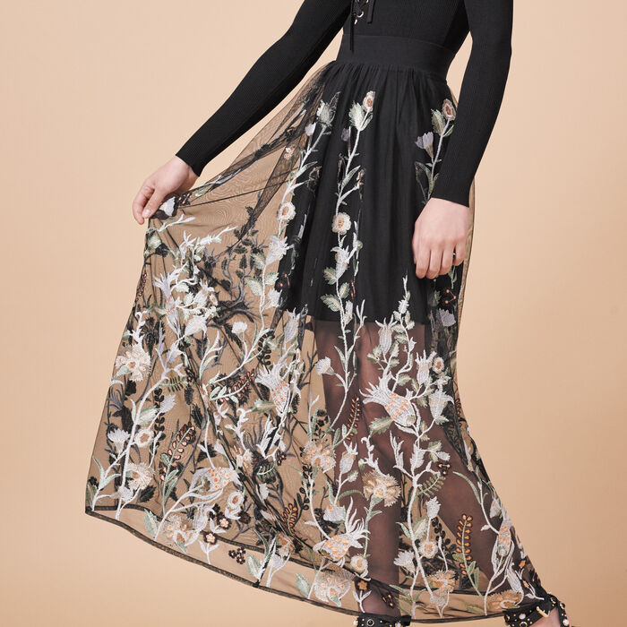 Long skirt with embroidery - Tout Voir - MAJE