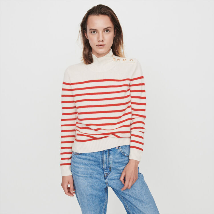 Sailor-style cashmere sweater : Winter collection color Ecru