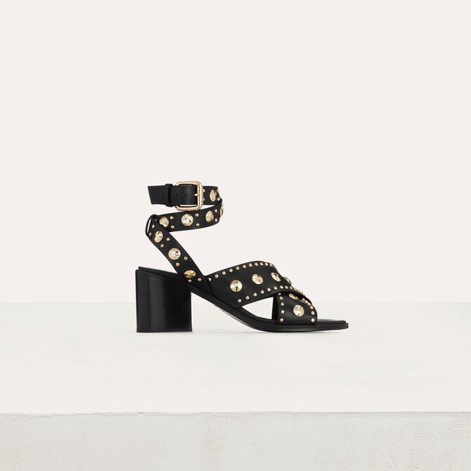 Healed leather sandals with studs - See all - MAJE