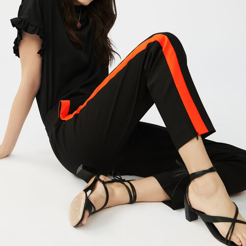 Straight cut pants with stripes : Trousers & Jeans color Black 210