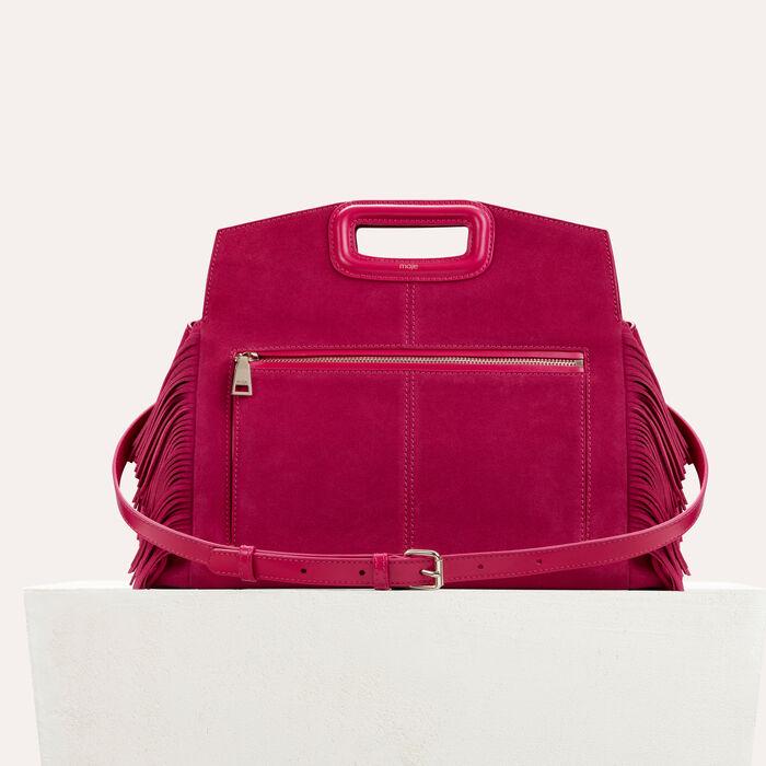 Suede shoulder bag : M bags color Raspberry