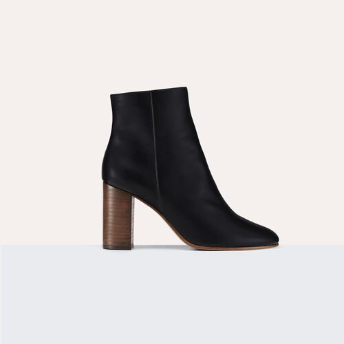 Leather ankle boots : Shoes color Black 210