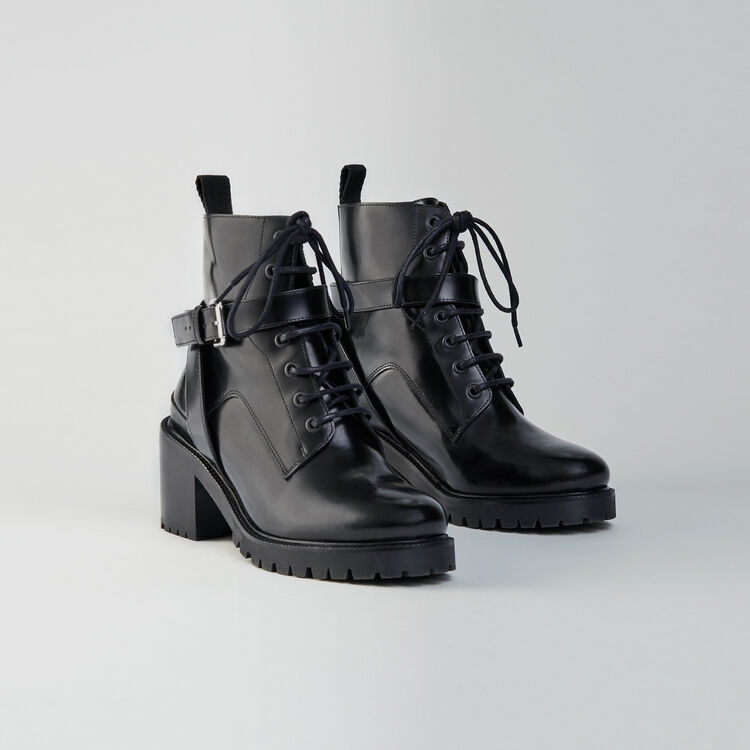 Heeled lace-up glazed leather booties : Booties & Boots color Black