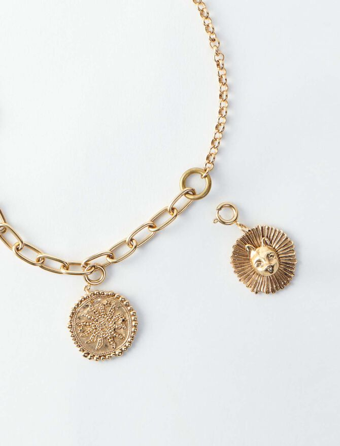 Cat and sun medaillon charms necklace -  - MAJE