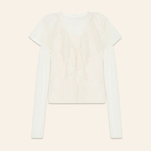 Frilled dotted Swiss top - Tops - MAJE
