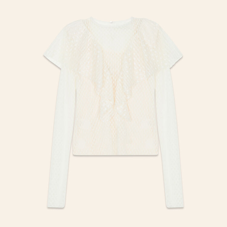 Frilled dotted Swiss top : Tops color Ecru
