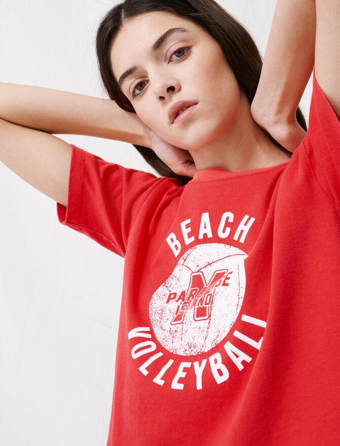 Short red screen-printed T-shirt - T-Shirts - MAJE