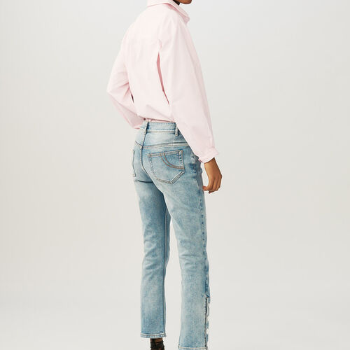 Flared 7/8 denim jeans : Jeans color Denim