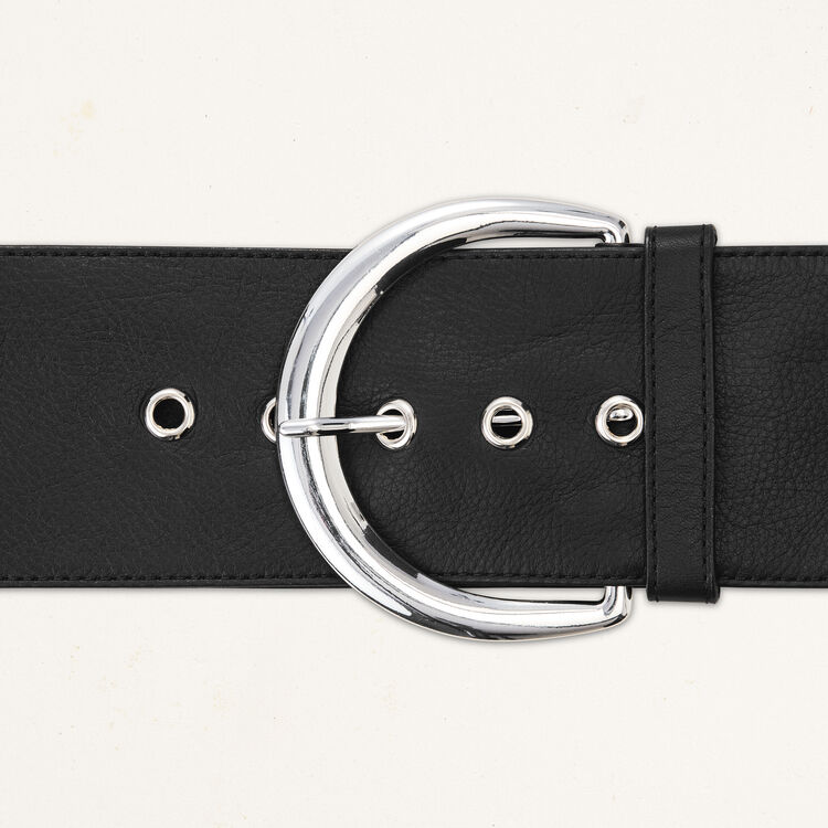 Extra wide calfskin leather belt : Accessoires color Black 210