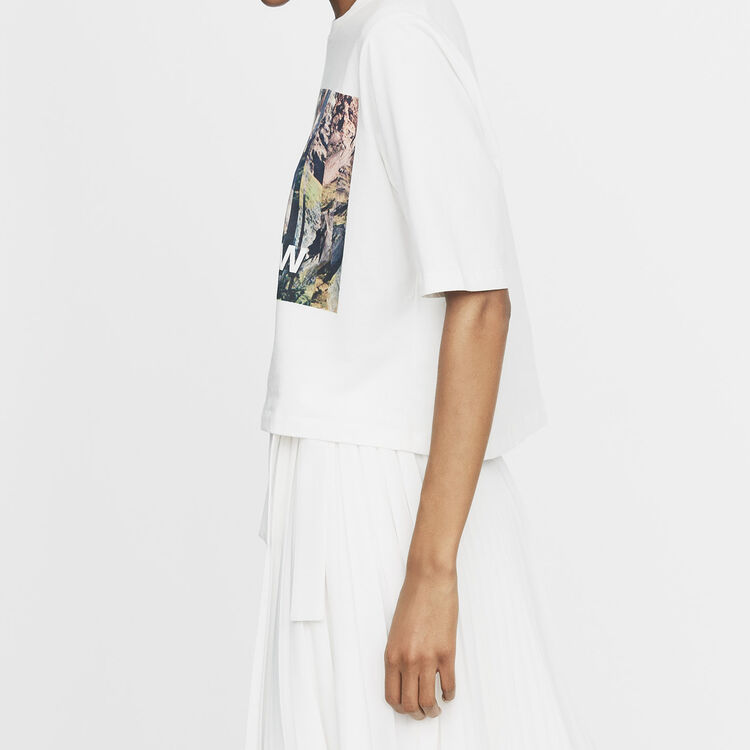 Cropped printed T-shirt : Urban color White