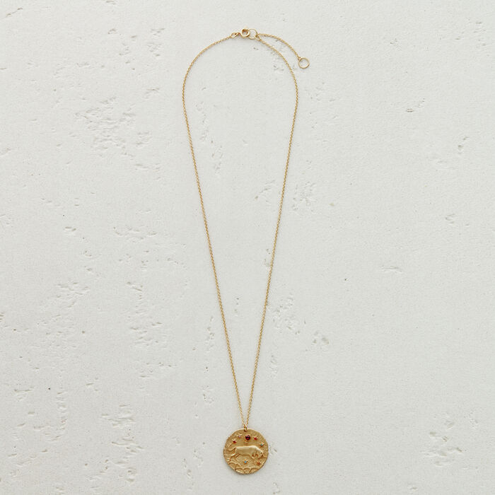 Taurus zodiac sign necklace : Medallions color GOLD