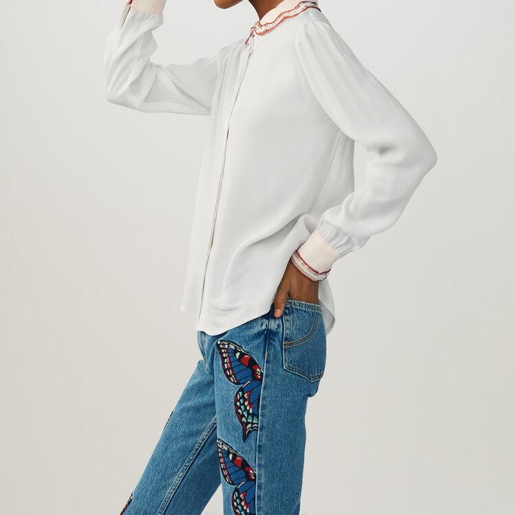 Shirt with embroidered collar : Shirts color Ecru