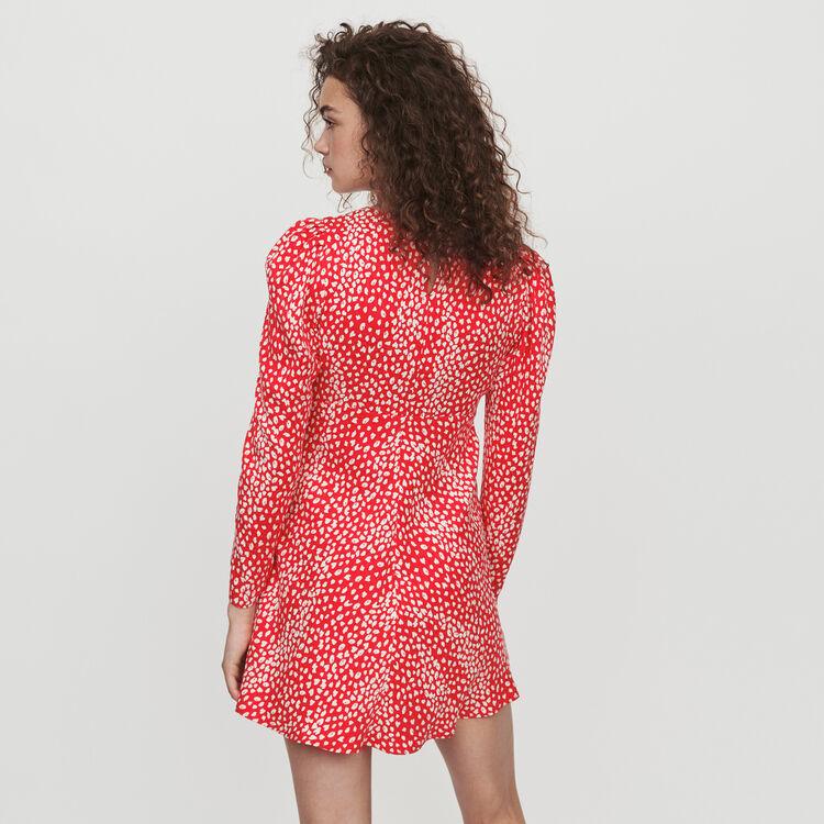 Jacquard-printed gathered dress : Dresses color Red