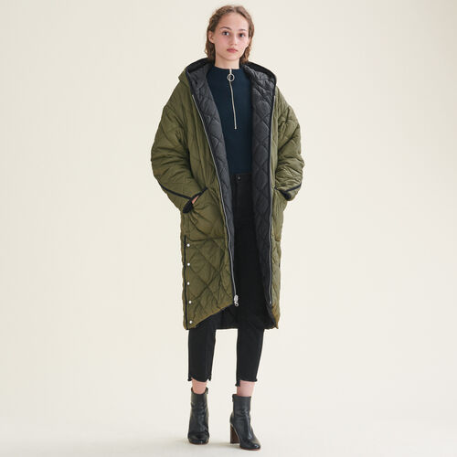 Long reversible down jacket : Coats color Khaki