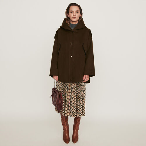 Double face cape coat : Coats & Jackets color Khaki