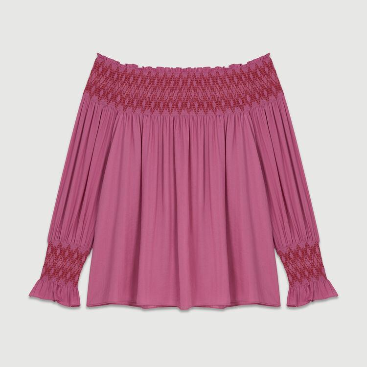 Smocked cold shoulder top : Tops color Fuschia
