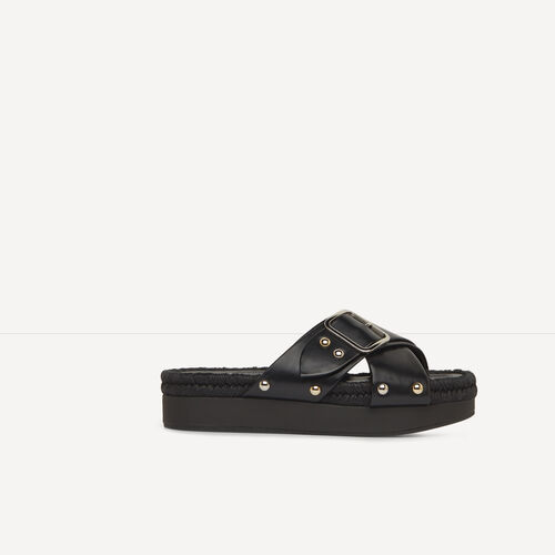 Leather mules with metal buckle : Accessories color Black 210