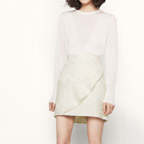 Short jacquard skirt : Skirts & Shorts color Ecru