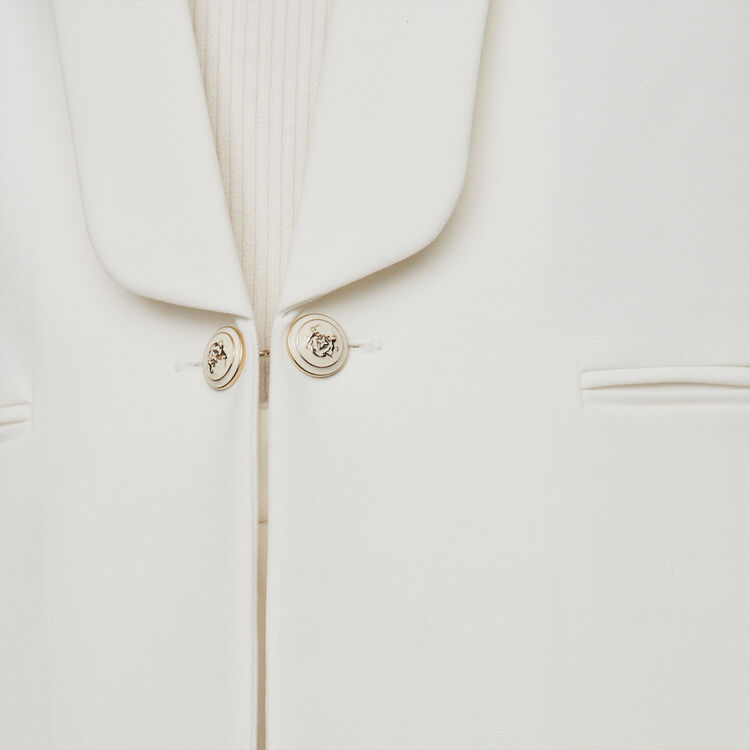 Straight-cut buttoned shawl lapel jacket : Blazers color Ecru