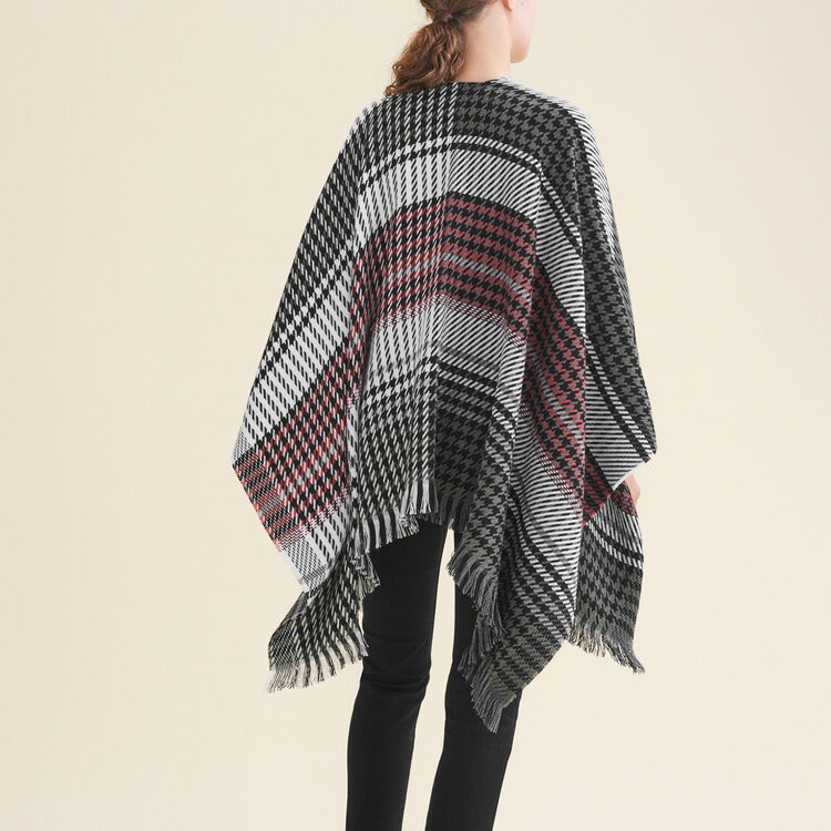 Multi-coloured houndstooth poncho : Accessoires color Multico