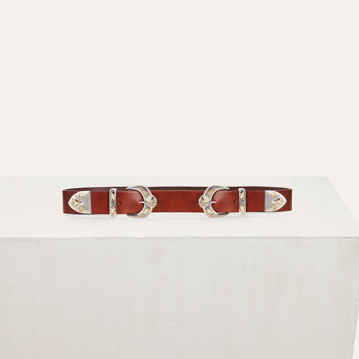 Double-buckle belt in leather : Accessories color Camel
