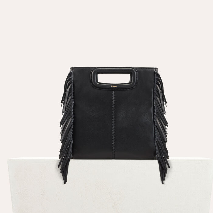M bag with leather fringes : Leather color Black 210