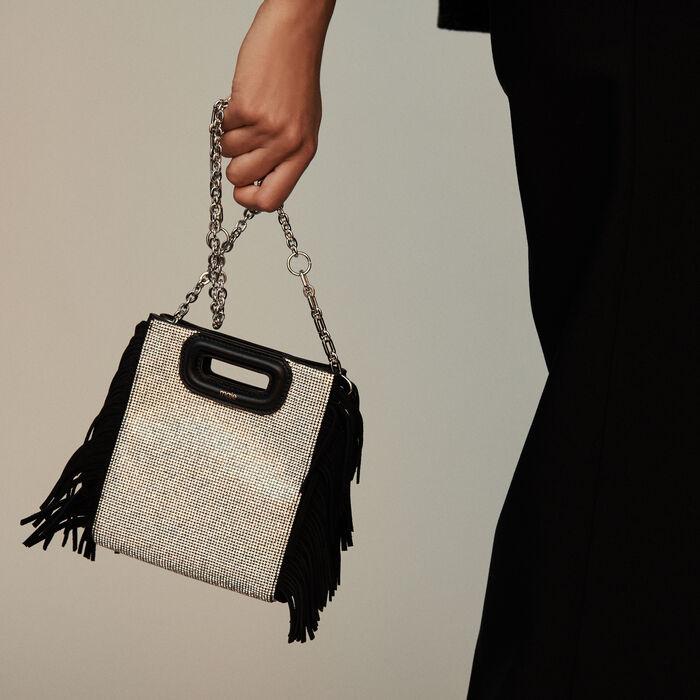 Mini suede and strass M bag : M Mini color Black