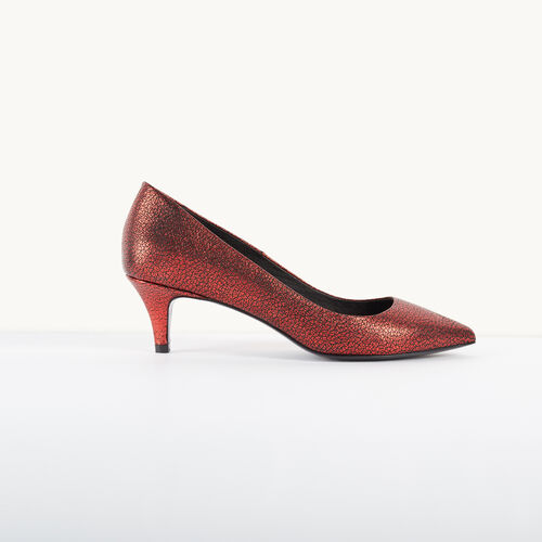 Leather court shoes with crackled effect : Accessories color Red