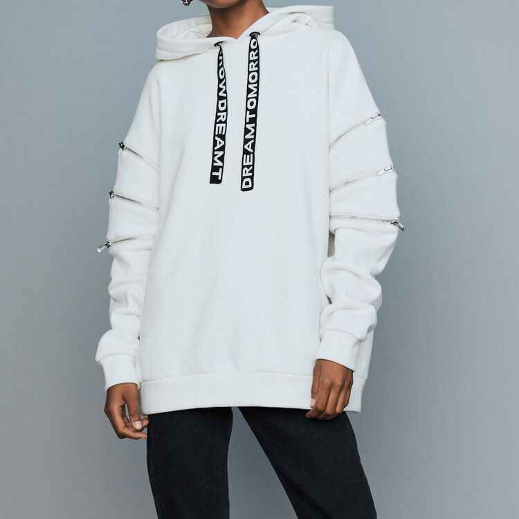Hooded sweatshirt with zips : Urban color White