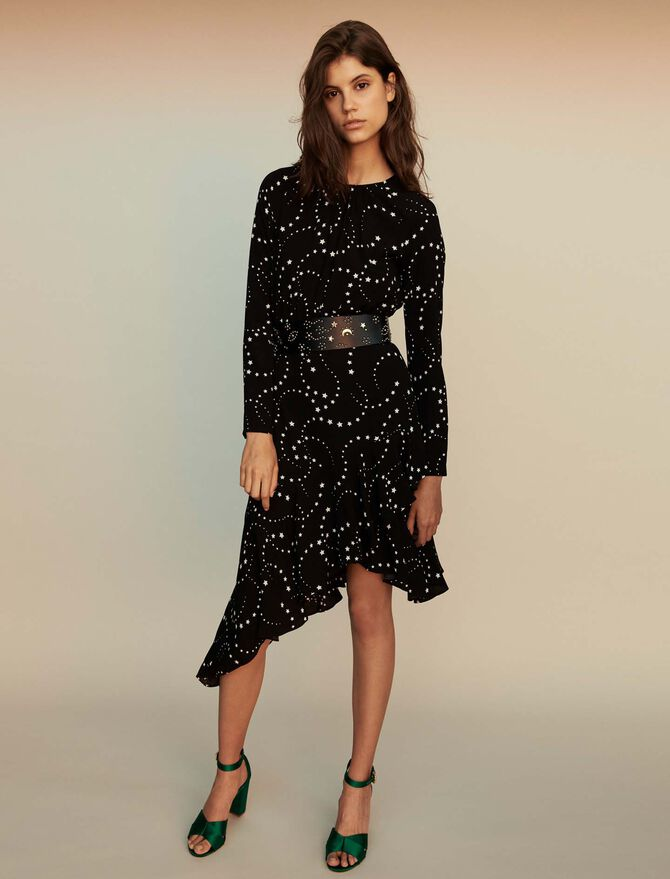 Asymmetrical printed-crepe dress -  - MAJE