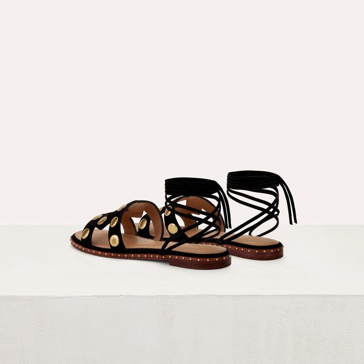 Stud suede sandals : Shoes color Black 210