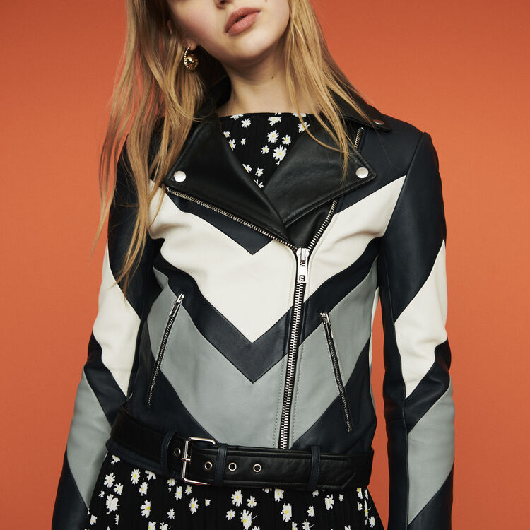 Leather jacket with cutouts : Coats & Jackets color Multico