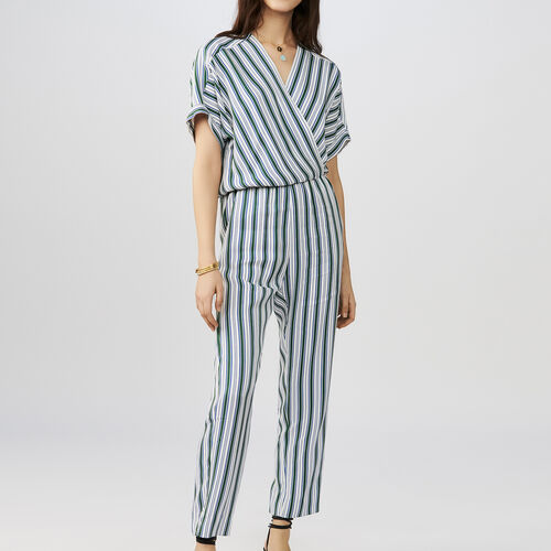 Striped jacquard jumpsuit : Trousers color Stripe