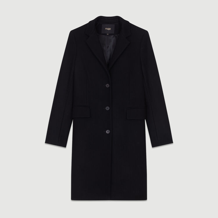Straight coat in virgin wool : Coats color Black 210