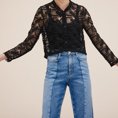 Lace cropped jacket : Blazers & Jackets color BLACK