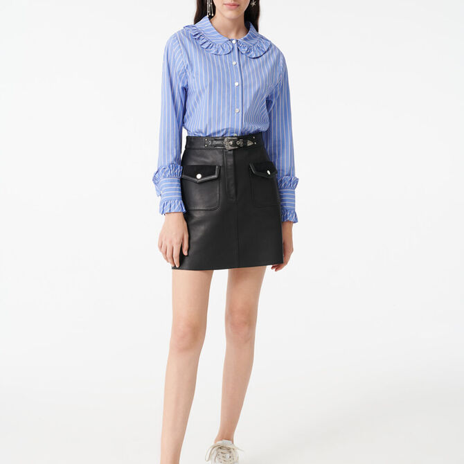 Striped shirt with a frilled collar -  - MAJE
