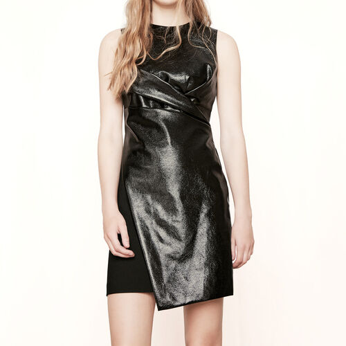 Mixed material dress with draping : Dresses color Black 210