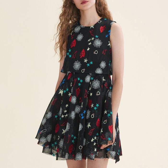 Tulle sleeveless embroidered dress - Dresses - MAJE
