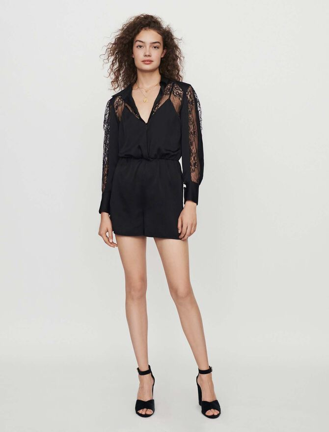 Satin and lace playsuit - -50% - MAJE
