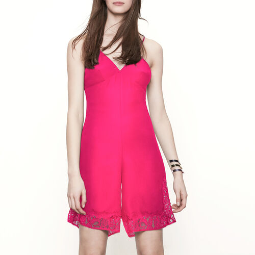 Playsuit with lace details : Skirts & Shorts color Fuschia