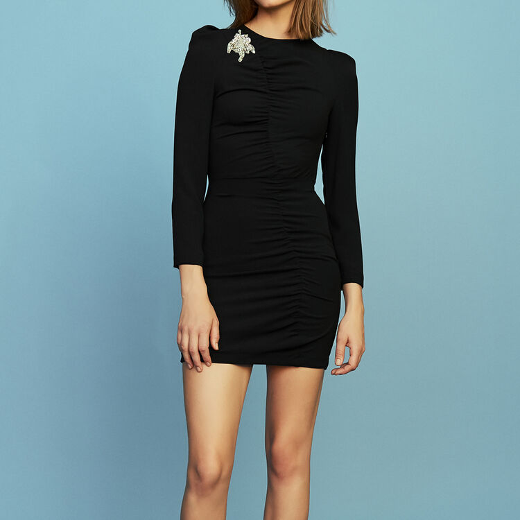 Long-sleeved dress with jewels : Dresses color Black 210