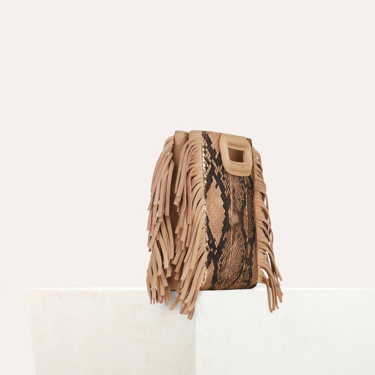 Mini M bag in python leather : M Mini color Beige
