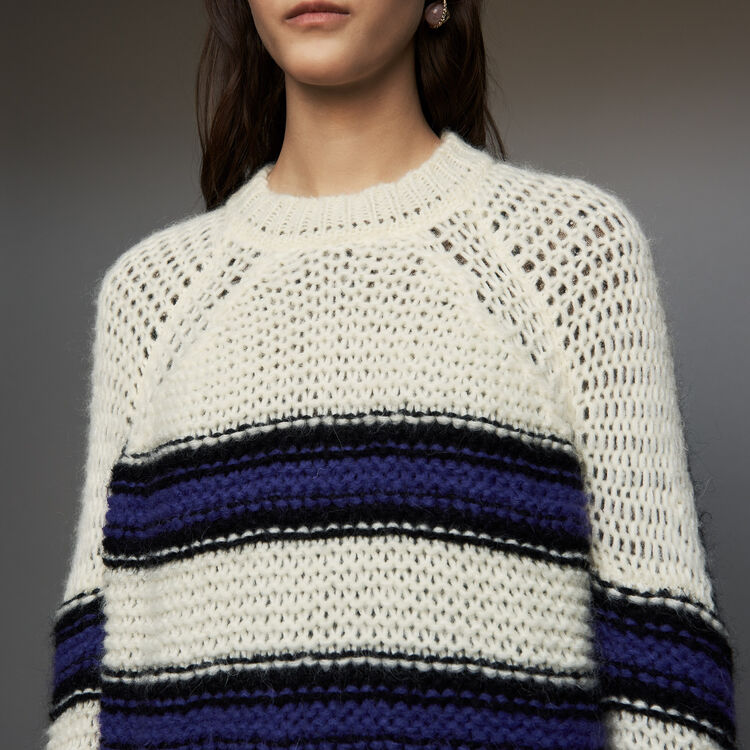 Oversize sweater in tricolor knit : Knitwear color Purple