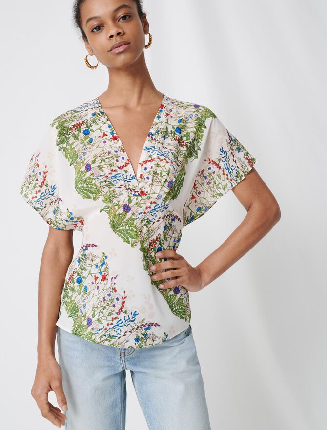Delicate floral silk top - Tops & Shirts - MAJE