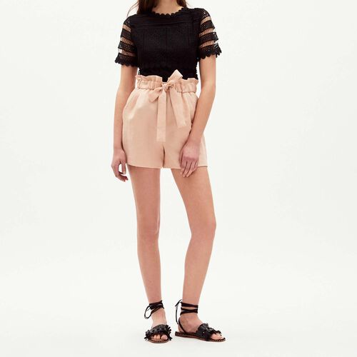 Short with belt to be knotted : Skirts & Shorts color Nude