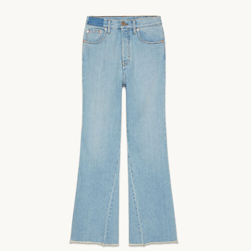 Flared cotton jeans : Trousers & Jeans color Blue