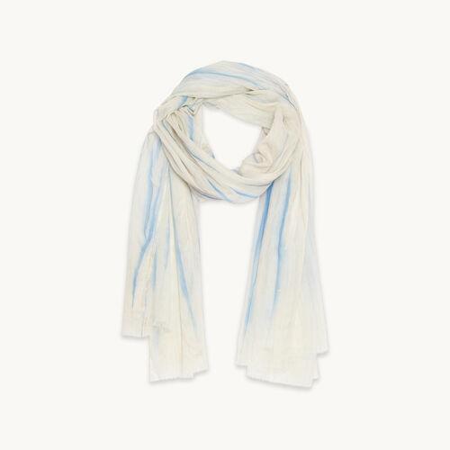 Printed cotton stole : Accessories color Blue Sky